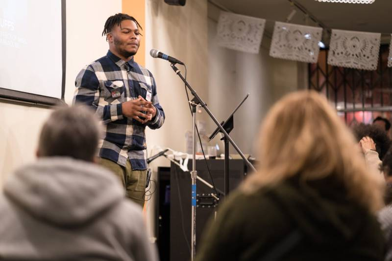 Arvaughn Williams speaks to an audience in San Francisco about the impacts of having an incarcerated parent, and how this disproportionately affects young black men.