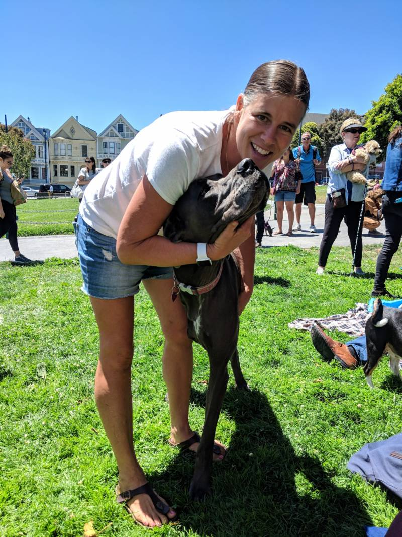 Jenny Seiphers is from El Cerrito and came with her Great Dane, Heidi. Heidi's leg was recently amputated due to bone cancer. 'She was up and walking 24 hours after surgery,' says Seiphers.
