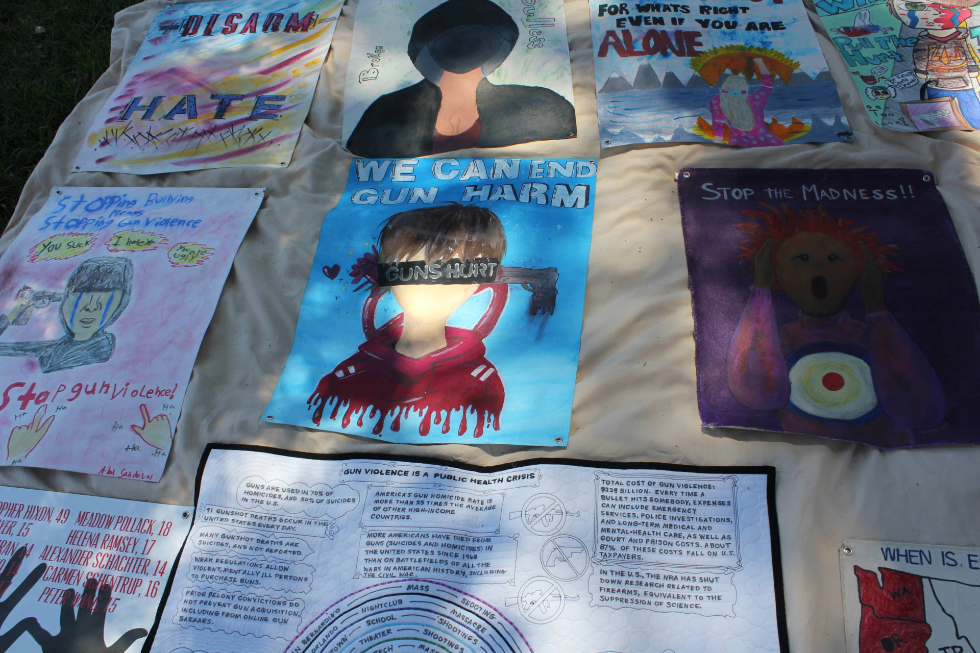 Artwork at the March for Our Lives Barbecue in Oakland, July 22, 2018. Sara Hossaini/KQED