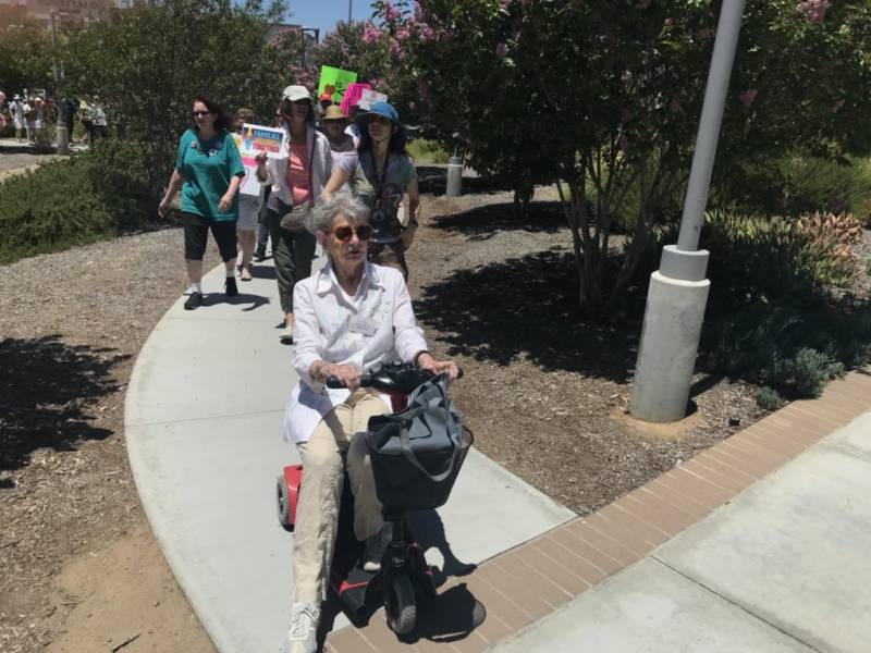 At 85, Judith Taylor organized and led her first protest against separated families. Taylor planned for about a dozen people to show up. Ultimately she led a march of 300 from her mobility scooter.