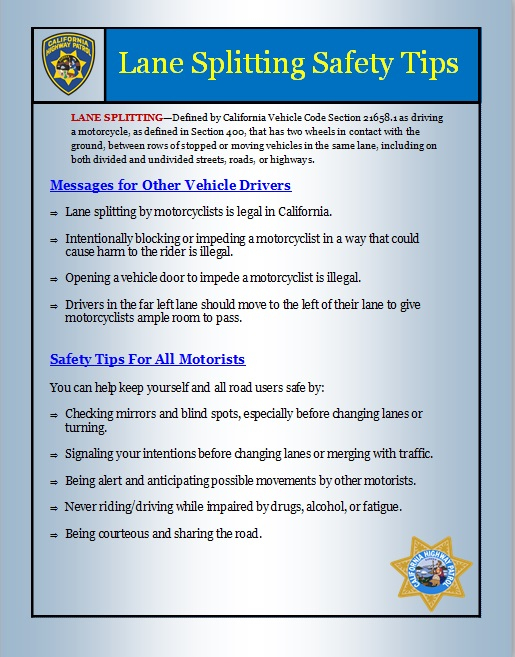 Page two of the 'Lane Splitting Safety Tips' released by the California Highway Patrol on Sept. 27, 2018.