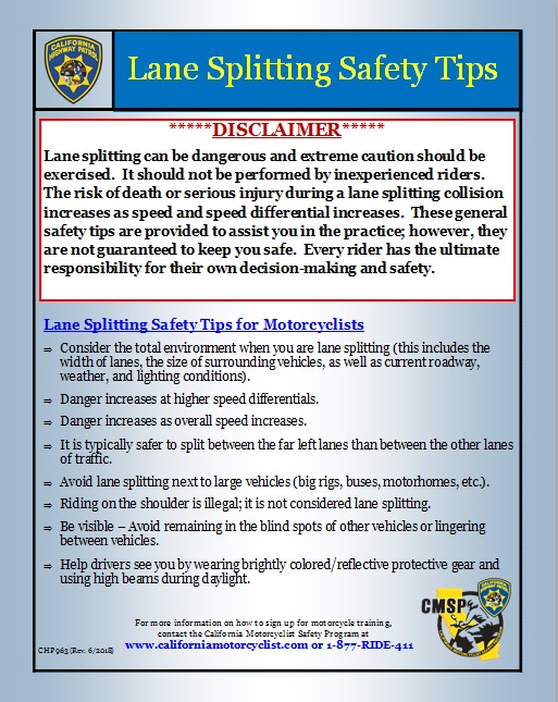 Page one of the 'Lane Splitting Safety Tips' released by the California Highway Patrol on Sept. 27, 2018.