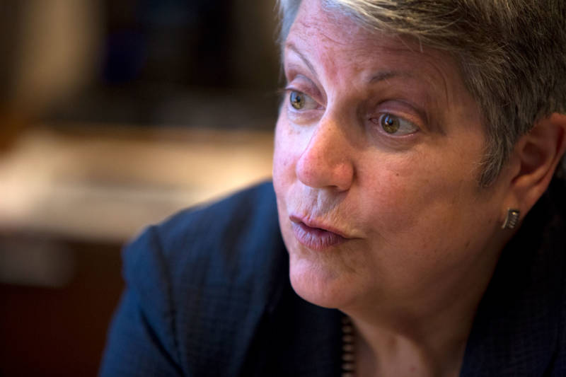 UC President and former Secretary of Homeland Security Janet Napolitano talked with The California Report in her office in Oakland on July 17, 2018.