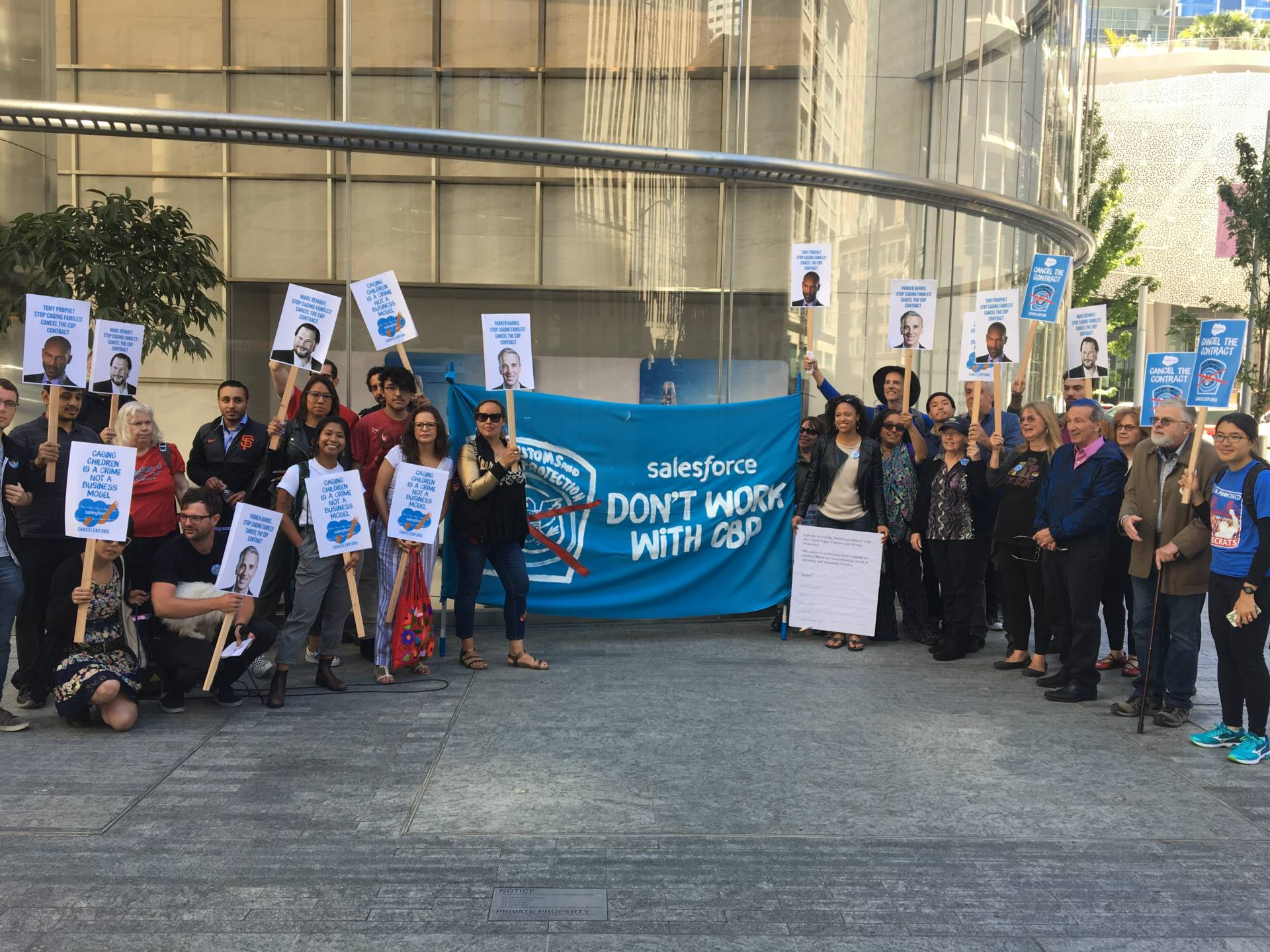Those active in the Tech Workers Coalition came out to support Salesforce employees who are speaking out against the company. Sam Harnett/KQED