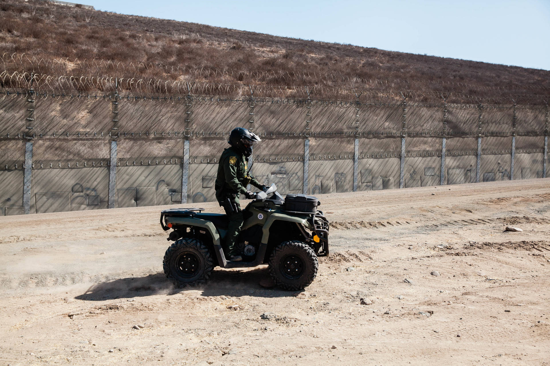 U.S. Border Patrol polices Goat Canyon area near the border wall that divides the United States and Mexico. Ariana Drehsler