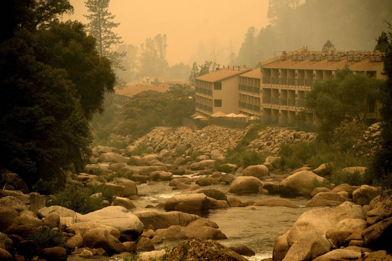Smoke from the Ferguson Fire hangs over the Yosemite View Lodge in El Portal, Yosemite National Park, on July 21, 2018.