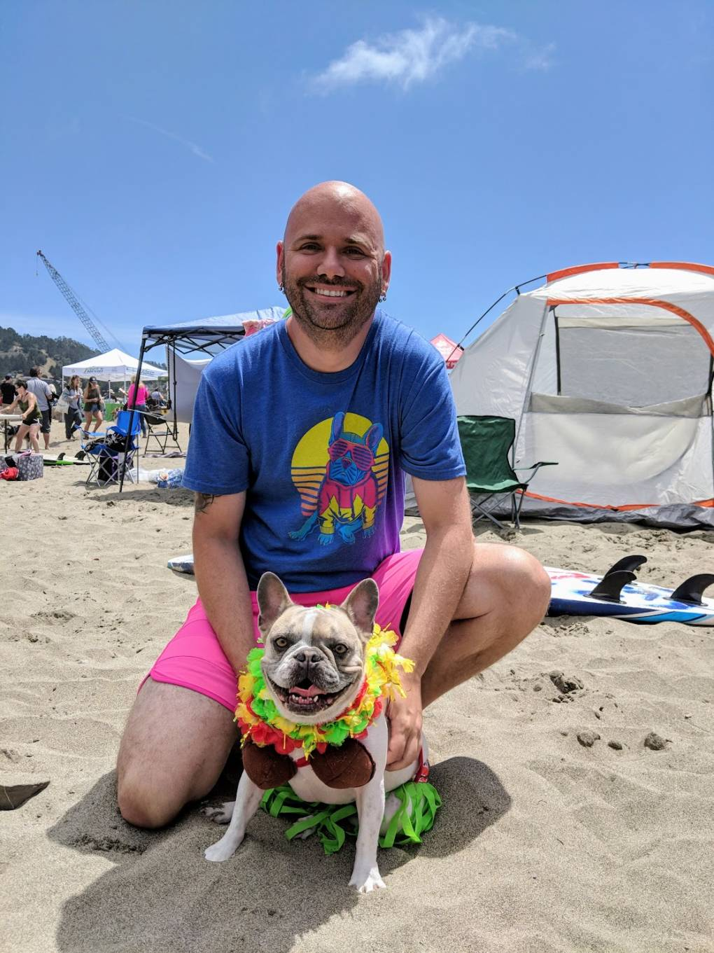 "Cherie the French bulldog with his owner Dan Nykolayko, from Orange County. ""Unlike most French bulldogs she showed a high interest in the water... Frenchies are not exactly a water dog."""