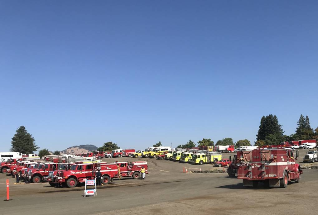 Fire Trucks at the Incident Command Post in Ukiah