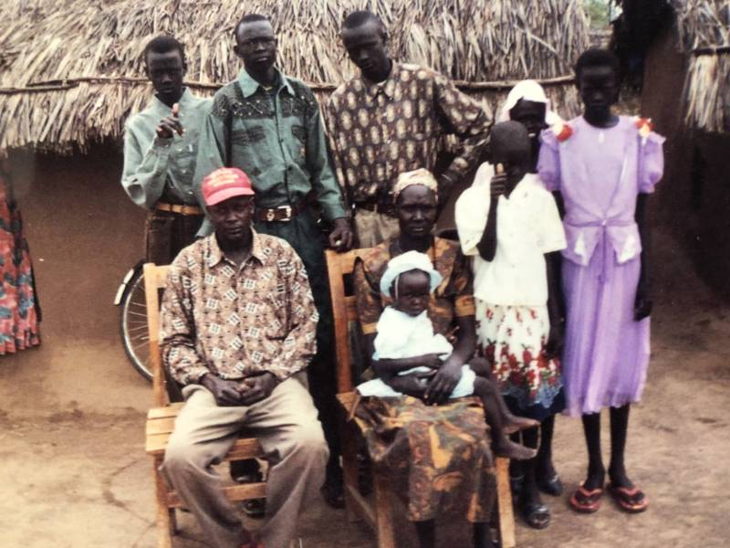 David Ayual Mayom (second from left) with his family in Kakuma Refugee Camp in Kenya in 2000.