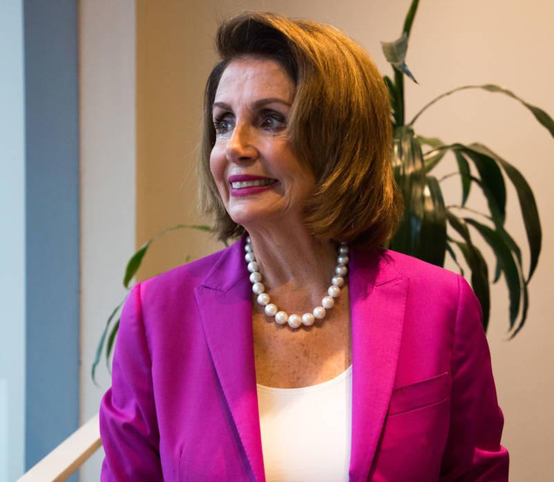 House Minority Leader Nancy Pelosi in the KQED studios on Aug. 22, 2018.