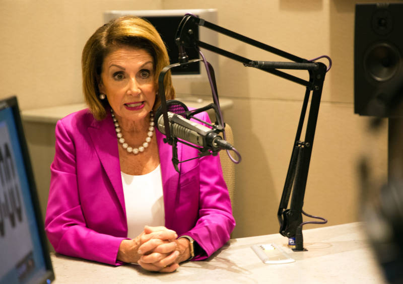 House Minority Leader Nancy Pelosi in the KQED studios on Aug. 22, 2018.