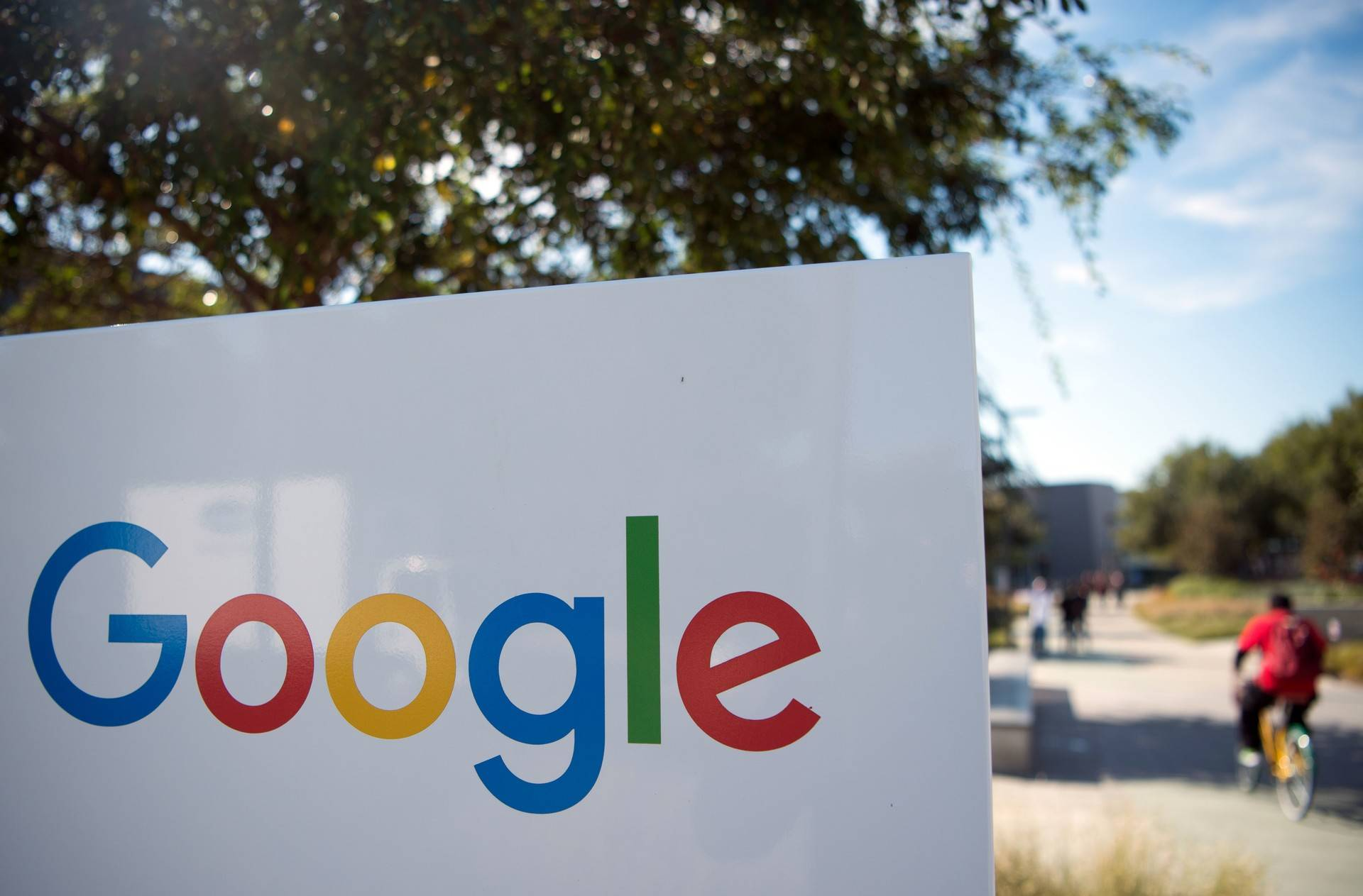 The Google sign and logo at the Googleplex in Menlo Park. JOSH EDELSON/AFP/Getty Images