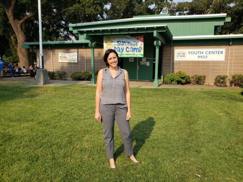 Candidate Jaclyn Moreno stands in Elk Grove Regional Park in Elk Grove, CA.