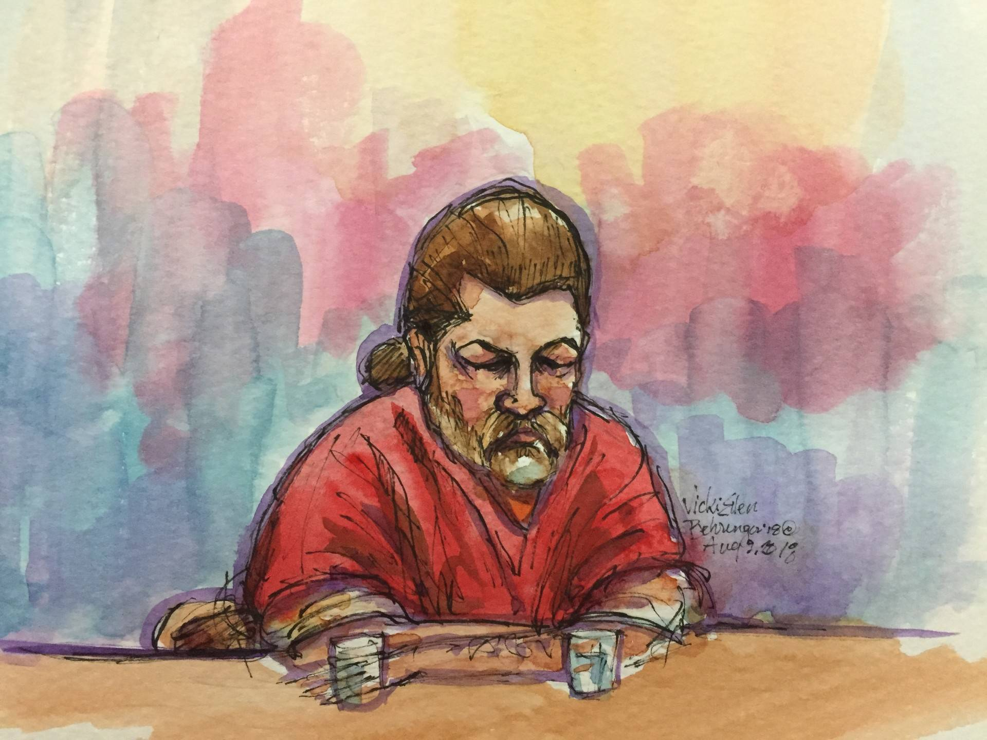 An illustration depicting Derick Almena in Alameda County Superior Court on Aug. 9, 2018, during a sentencing hearing. Vicki Behringer/Courtroom Artist