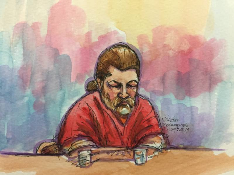 An illustration depicting Derick Almena in Alameda County Superior Court on Aug. 9, 2018, during a sentencing hearing.