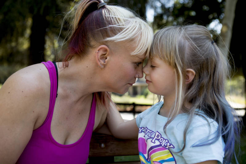 Sabrina and Aroara share a moment at the park.