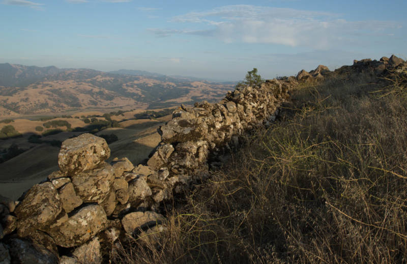 Segments of stone walls, like these on Monument Peak, in Ed Levin County Park near Milpitas, can be found throughout the hills of the East Bay.