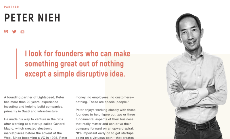 Venture capitalist Peter Nieh's profile on the website for Lightspeed Venture Partners.