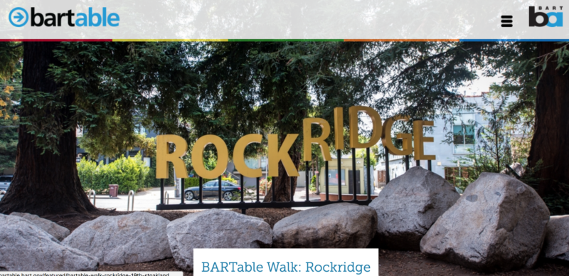 A screenshot from BART's BARTable website, advertising interesting places to go on BART.