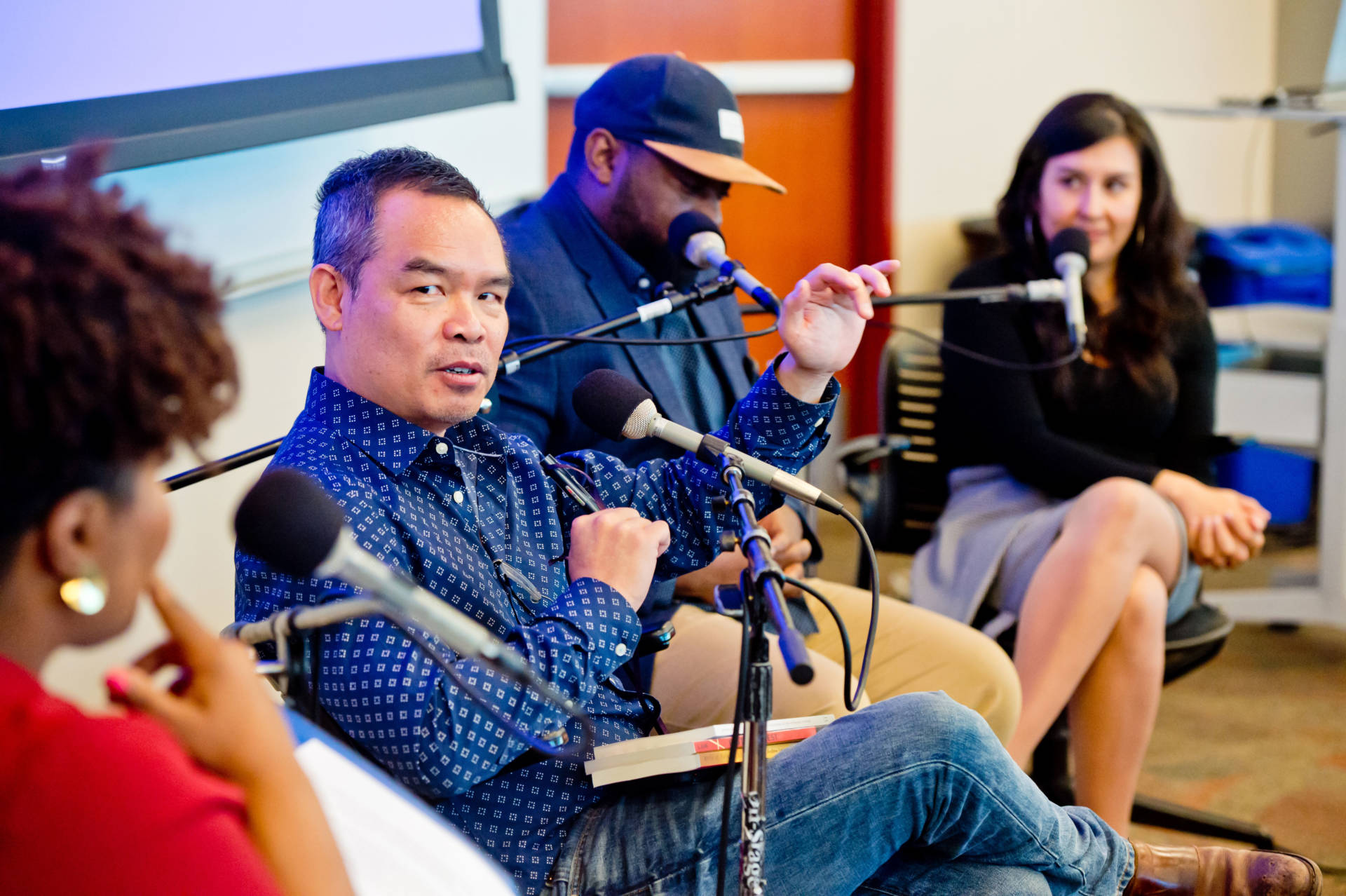 Andrew Lam, Carvell Wallace and Cristina Mora discuss demographic shifts with KQED's Tonya Mosley on April 25, 2018. Alain McLaughlin/Alain McLaughlin Photography Inc