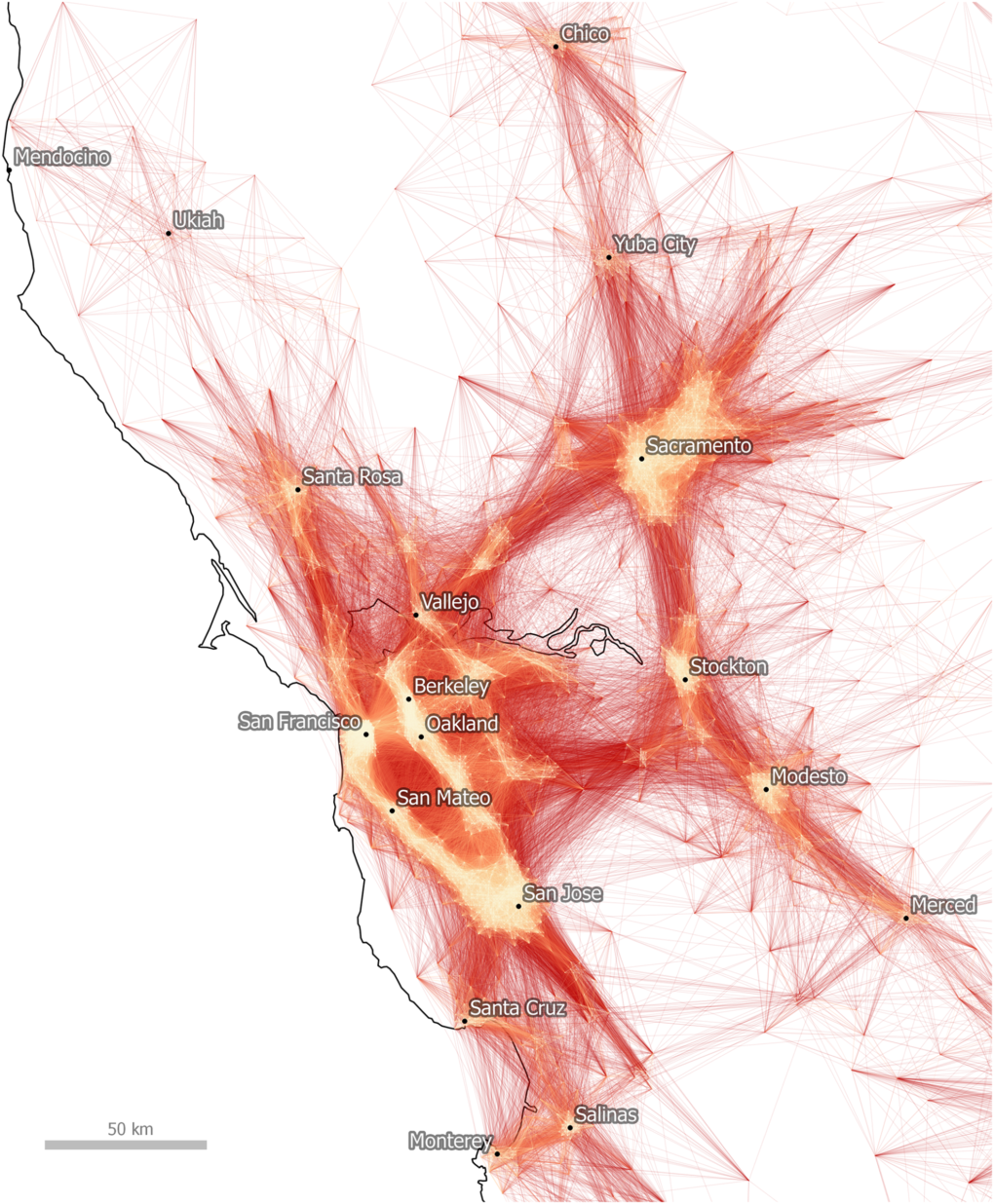 A heat map of commutes in Northern California reveals the urbanized core of the Bay Area, Sacramento and Central Valley cities, as well as the workers who flow into and out of each. Source: Dash Nelson G, Rae A (2016) An Economic Geography of the United States: From Commutes to Megaregions. PLoS ONE 11(11): e0166083. https://doi.org/10.1371/journal.pone.0166083