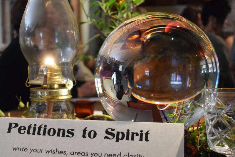 A display with crystal ball at the annual San Francisco Psychic Fair.