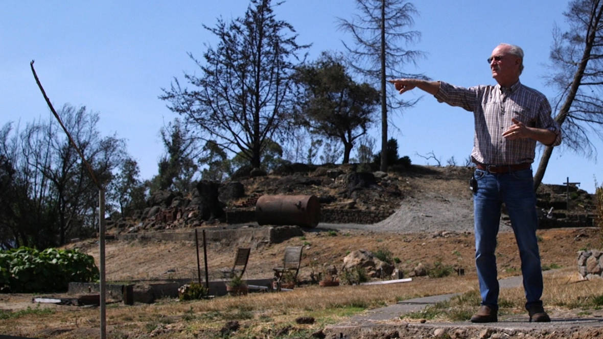 Dan Harberts on a tour of his Bubbling Well Pet Memorial Park, a Napa-area pet cemetery damaged in last October's Atlas Peak fire.  Adam Grossberg/KQED