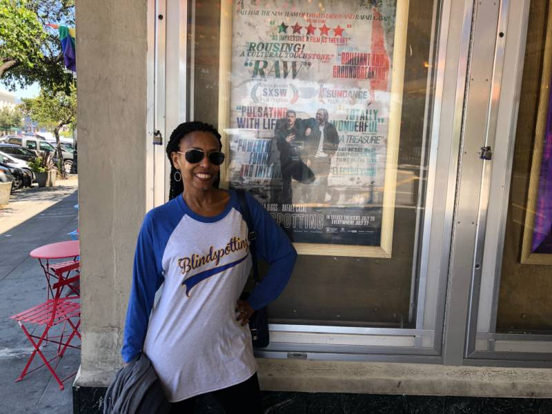 Margo Hall outside the Grand Lake Theater in Oakland before a screening of 'Blindspotting'. Hall is in the movie.