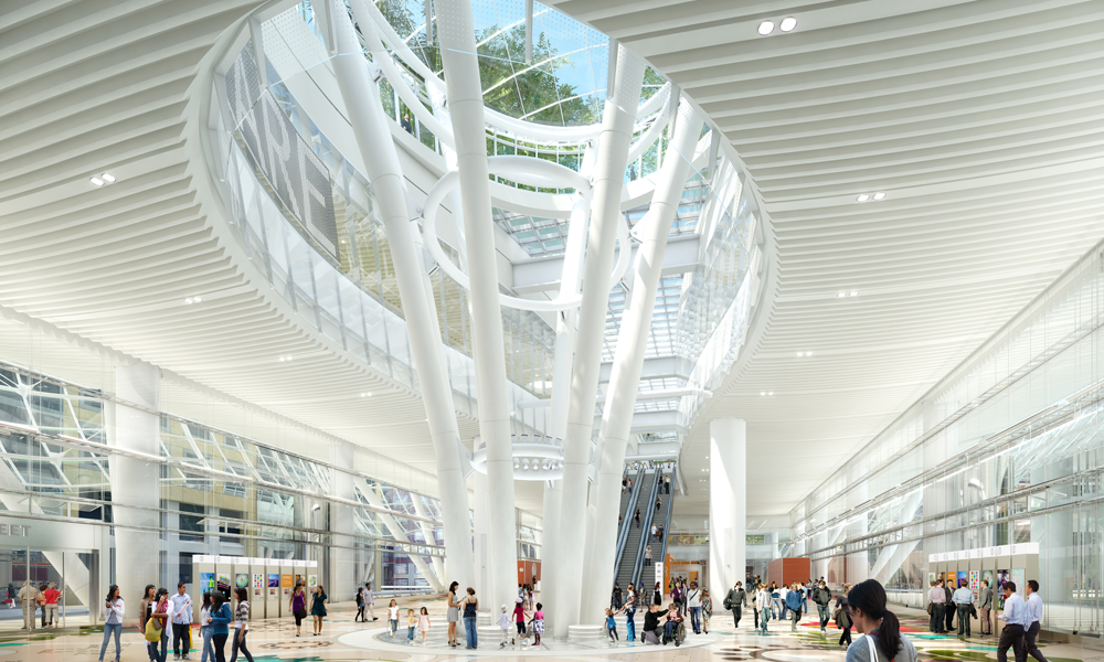 An artist's rendering of the Salesforce Transit Center's Grand Hall.  Transbay Joint Powers Authority