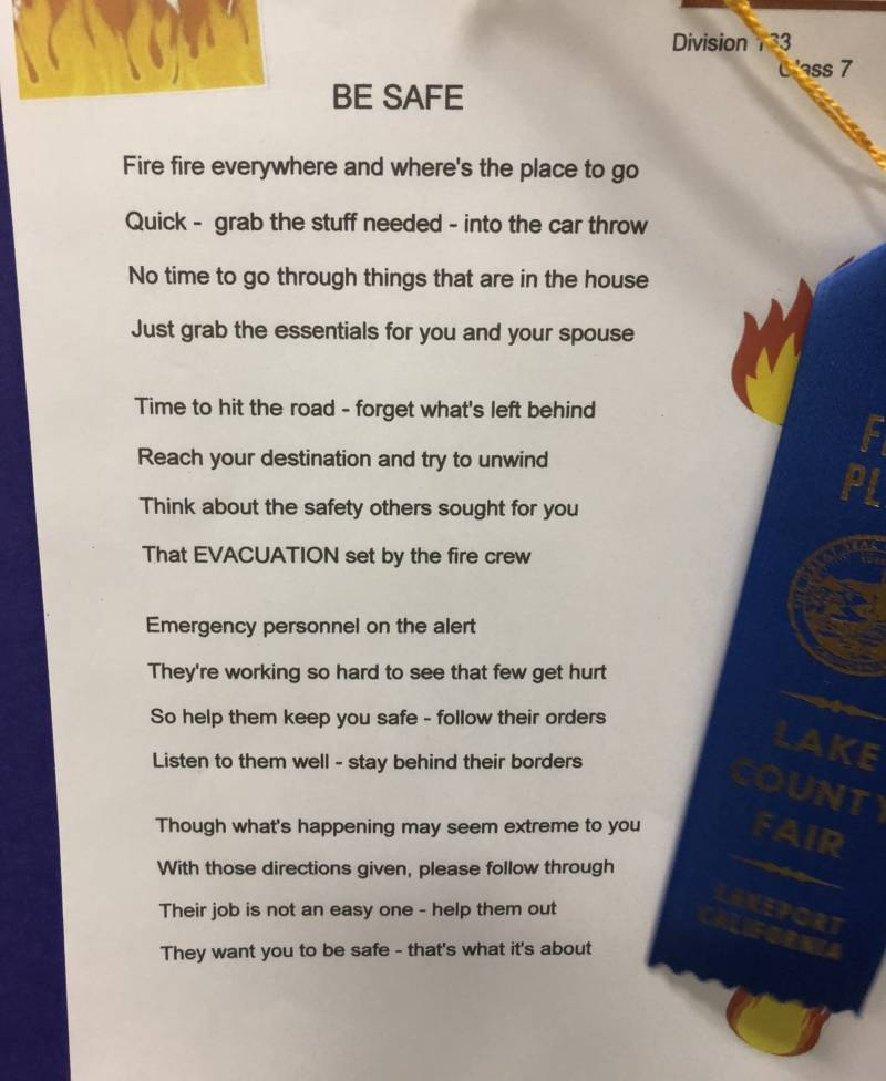 One of the winning poems at the Lake County Fair dealt with a very familiar theme for residents — wildfire.