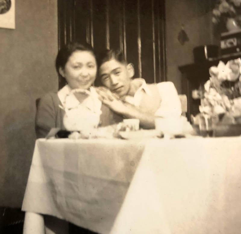 Sonia's grandparents Toshiko Nakamura (L) and Naoki (R), in their San Francisco apartment on Union St, 1937.