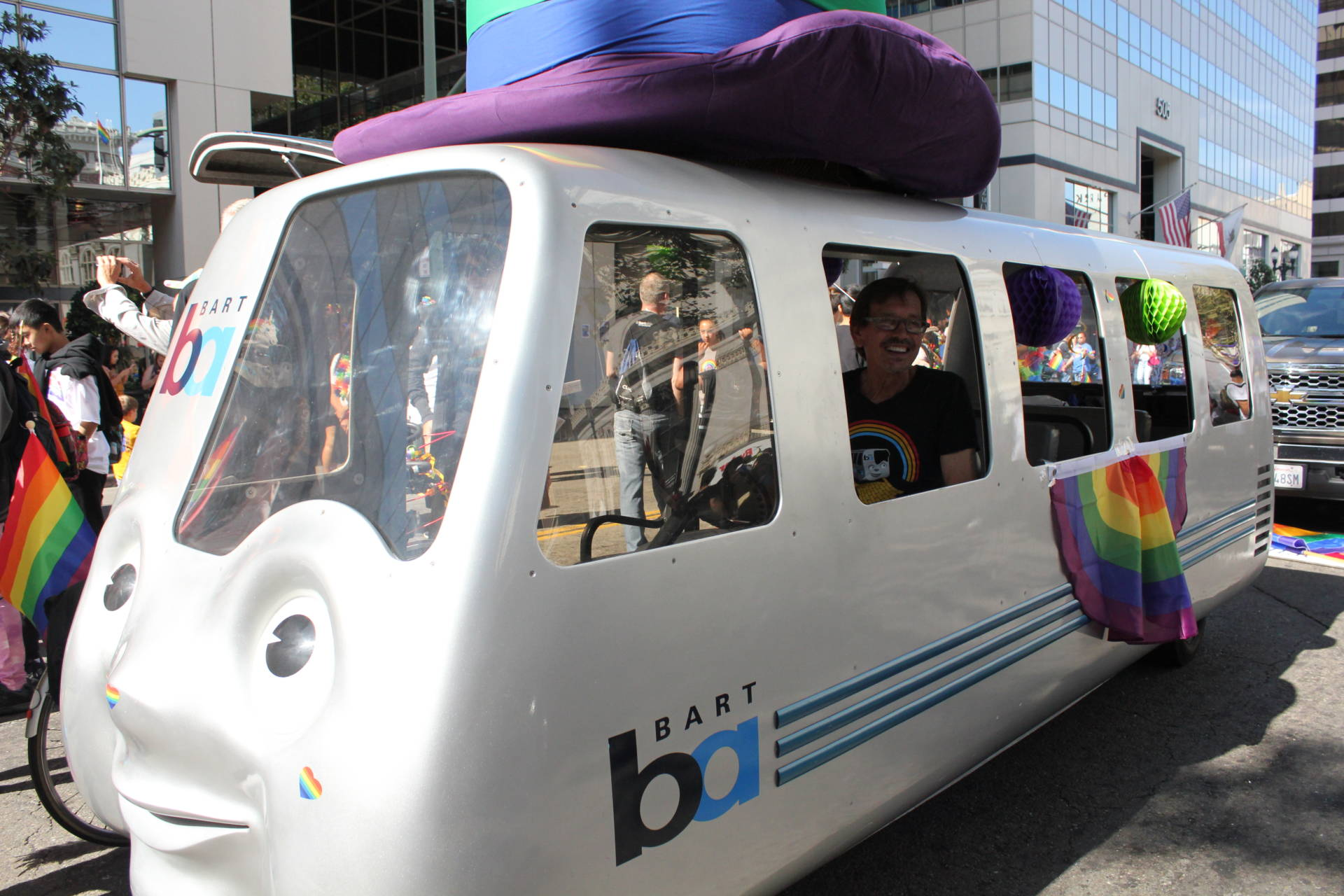 "BART Board President Robert Raburn says it's going to be a tough budget year for BART, but he ""twisted arms"" to make sure the BARTmobile could take part in Oakland Pride on Sunday."
