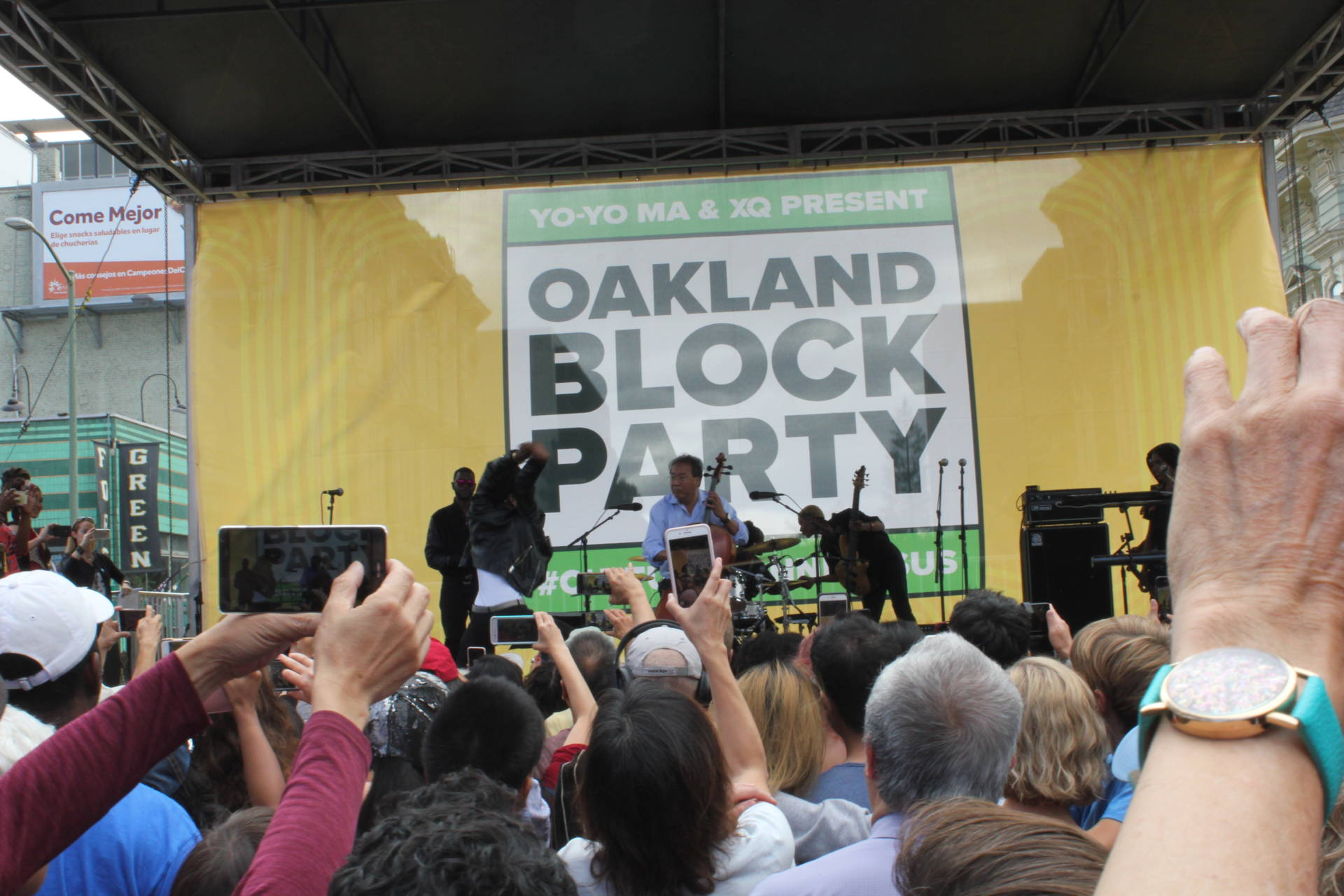 Yo-Yo Ma performs with young people in Oakland, including local sibling band, JAX. Sara Hossaini/KQED