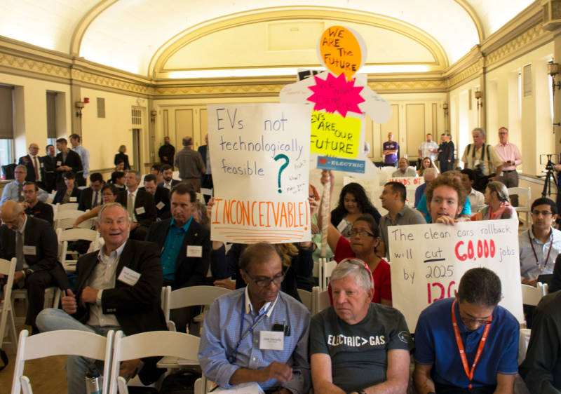 Inside the public hearing in Fresno on Monday, audience members listen to speakers and wait for their turn to testify. More hearings on the Trump administration's proposed fuel standards rollback are scheduled to take place in Pittsburg and Dearborn, Michigan.
