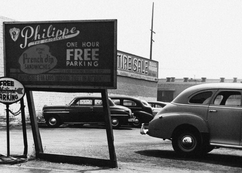 A vintage photo of the parking lot of Philippe's in Los Angeles.