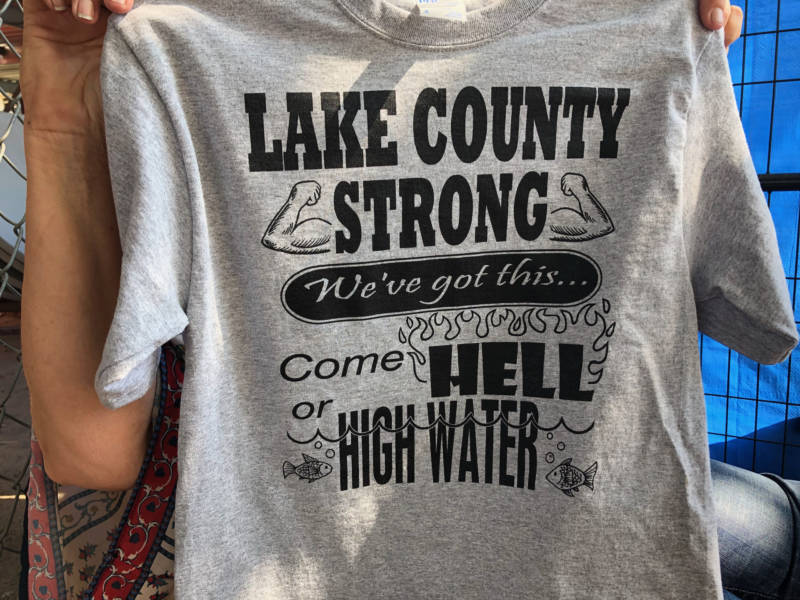 Katy Brogan sold these t-shirts at the Lake County Fair, with the proceeds going to help wildfire victims.