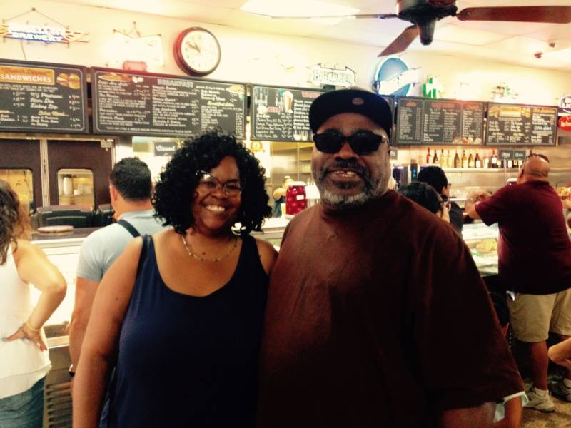 French dip fan Eric Woods and his wife Sonja. He's been coming to Philippe's since he was a toddler.