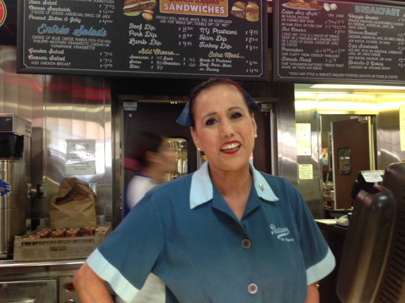Gloria Camacho has been making French dip sandwiches at Philippe's for 25 years. That's a lot of sandwiches.
