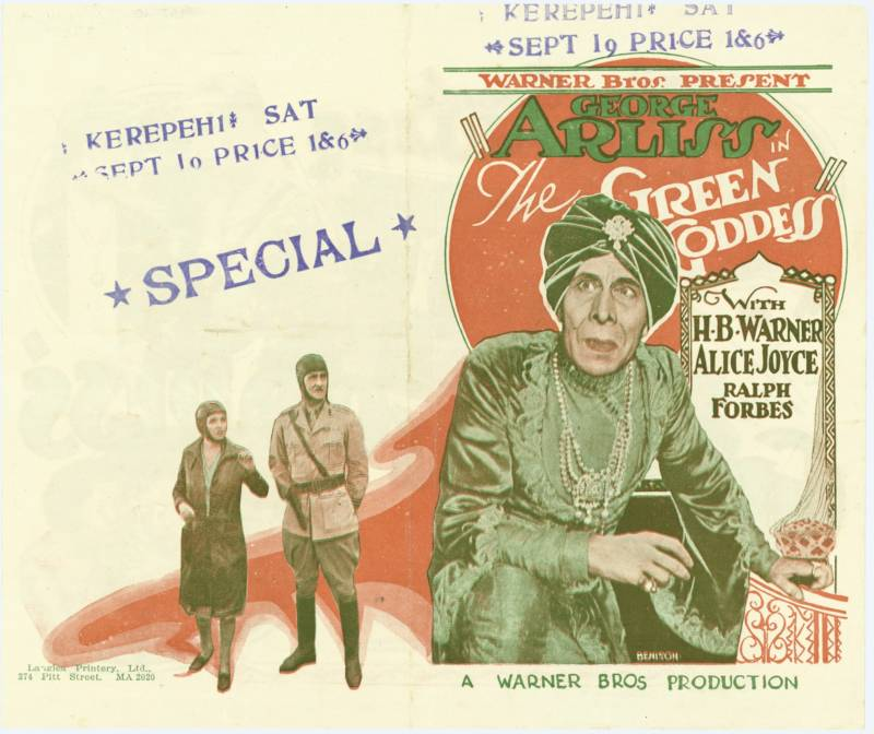 "British actor George Arliss starred in the play and film versions of ""The Green Goddess."""