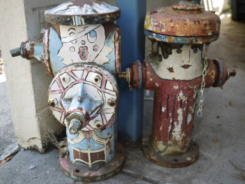 Two of Belmont's decommissioned 'Happy Hydrants.'