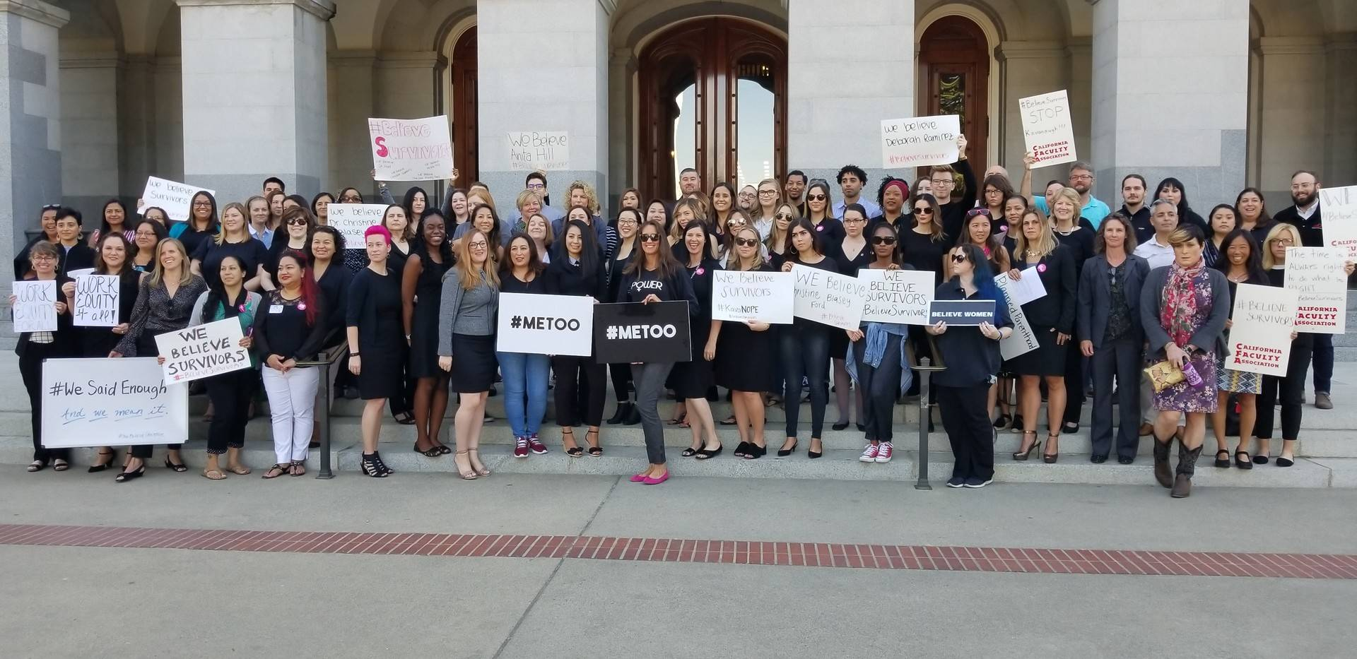 Dozens of women at the state Capitol showed their support in Sacramento on Monday for those accusing U.S. Supreme Court nominee Brett Kavanaugh of sexual assault. Katie Orr/KQED