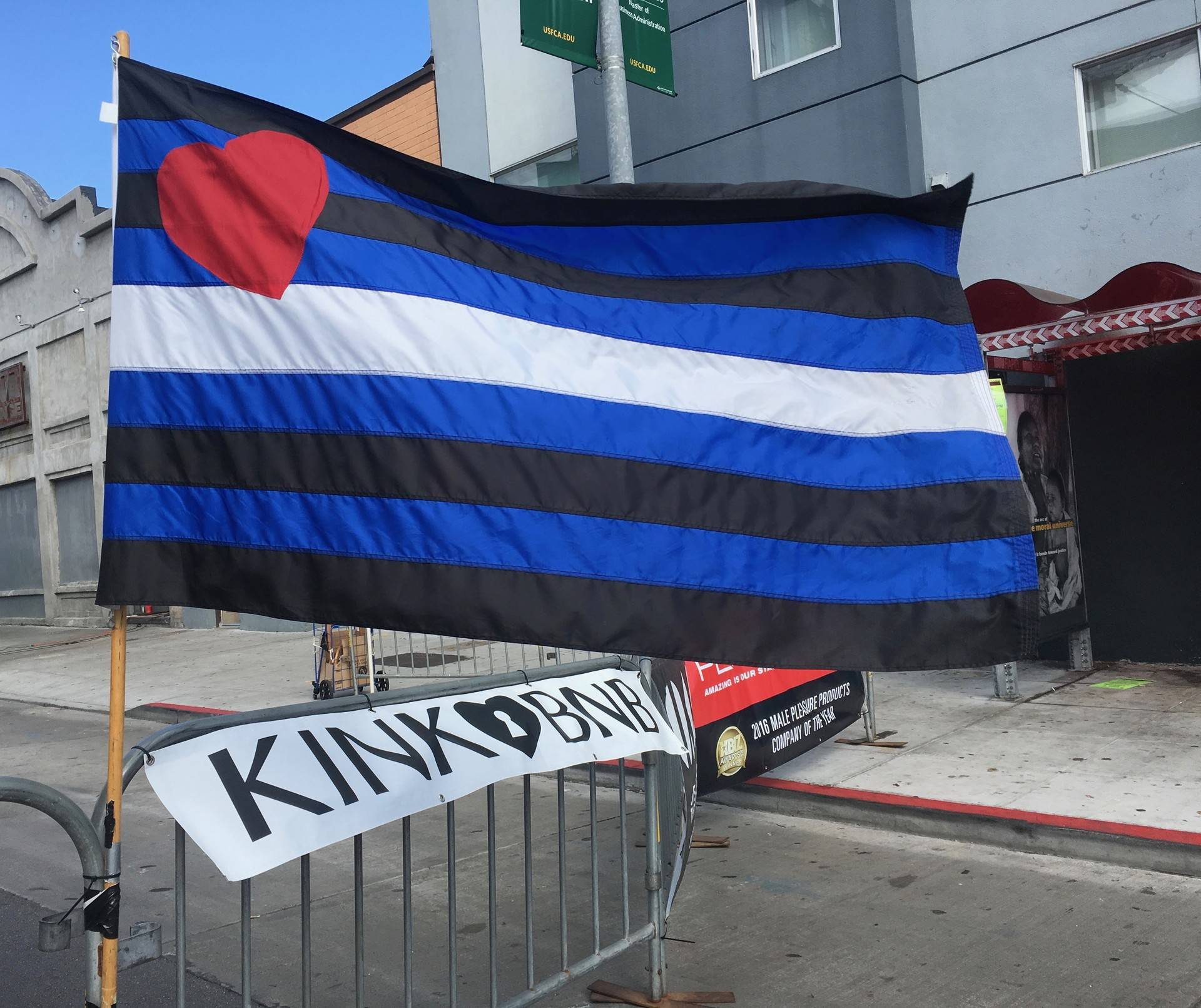 The Leather Pride flag flies at the Folsom Street Fair in San Francisco on Sept. 30, 2018. Michelle Wiley/KQED