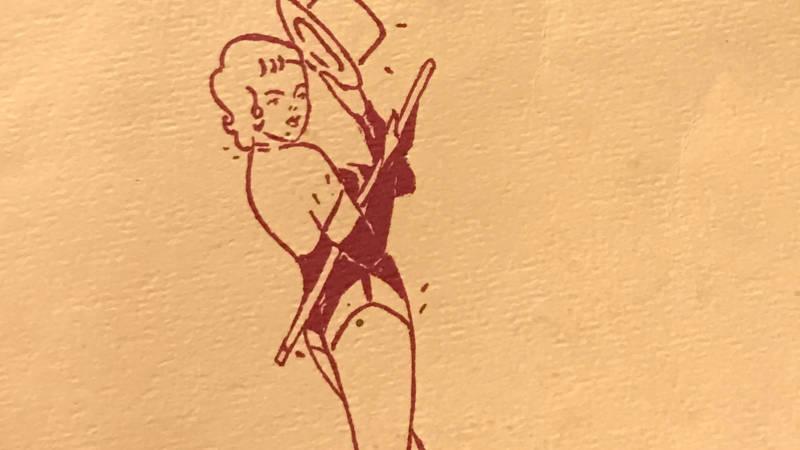 Detail from one of Rita Cecaci's Raiderettes programs from 1962.