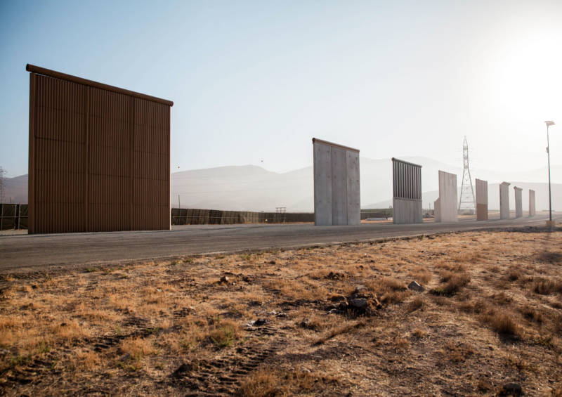 Border wall prototypes displayed in Otay Mesa near the existing border fence.