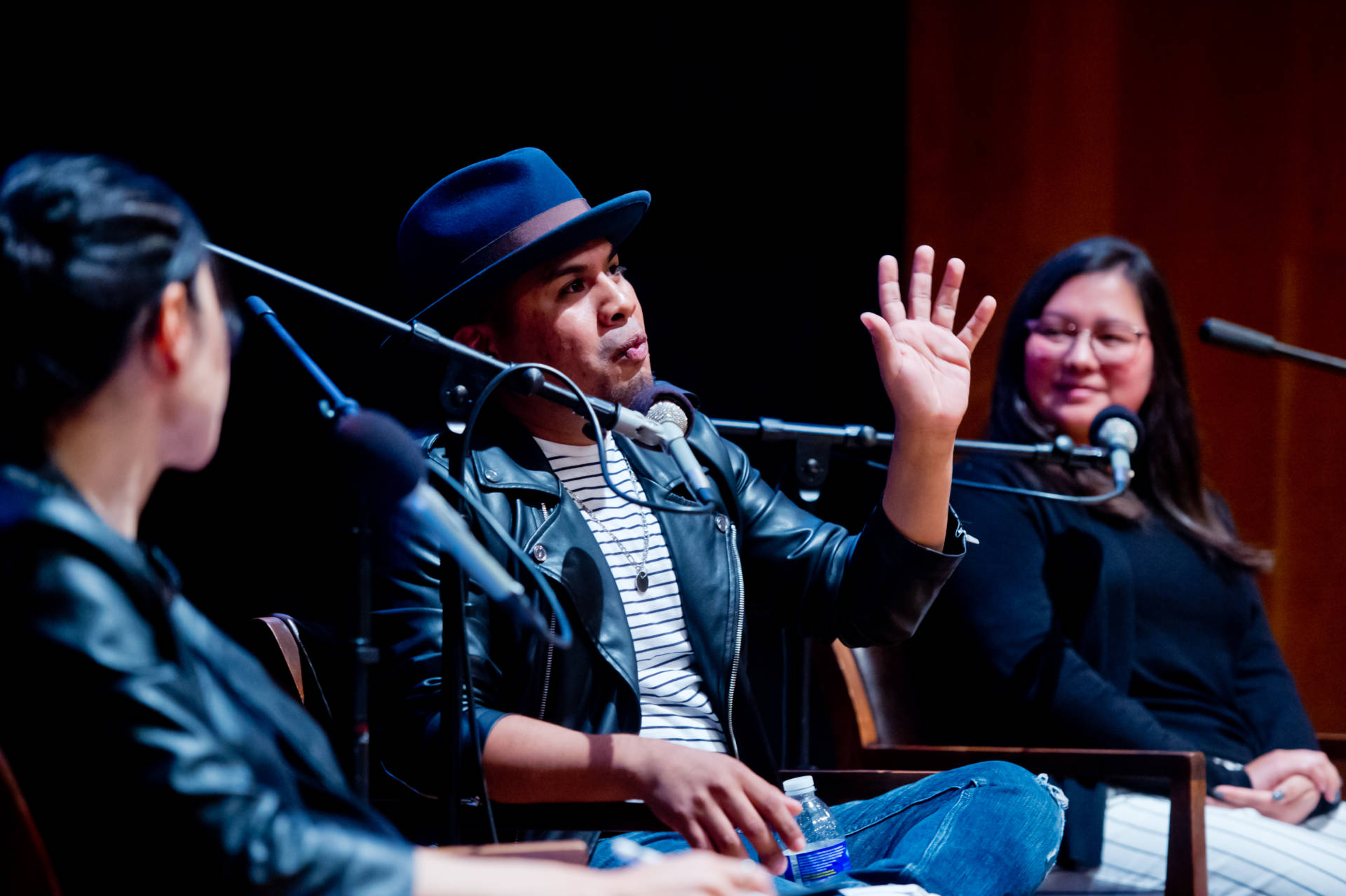 Yosimar Reyes and Gabriela Garcia discuss immigration with KQED's Mina Kim on May 9, 2018. Alain McLaughlin/Alain McLaughlin Photography Inc