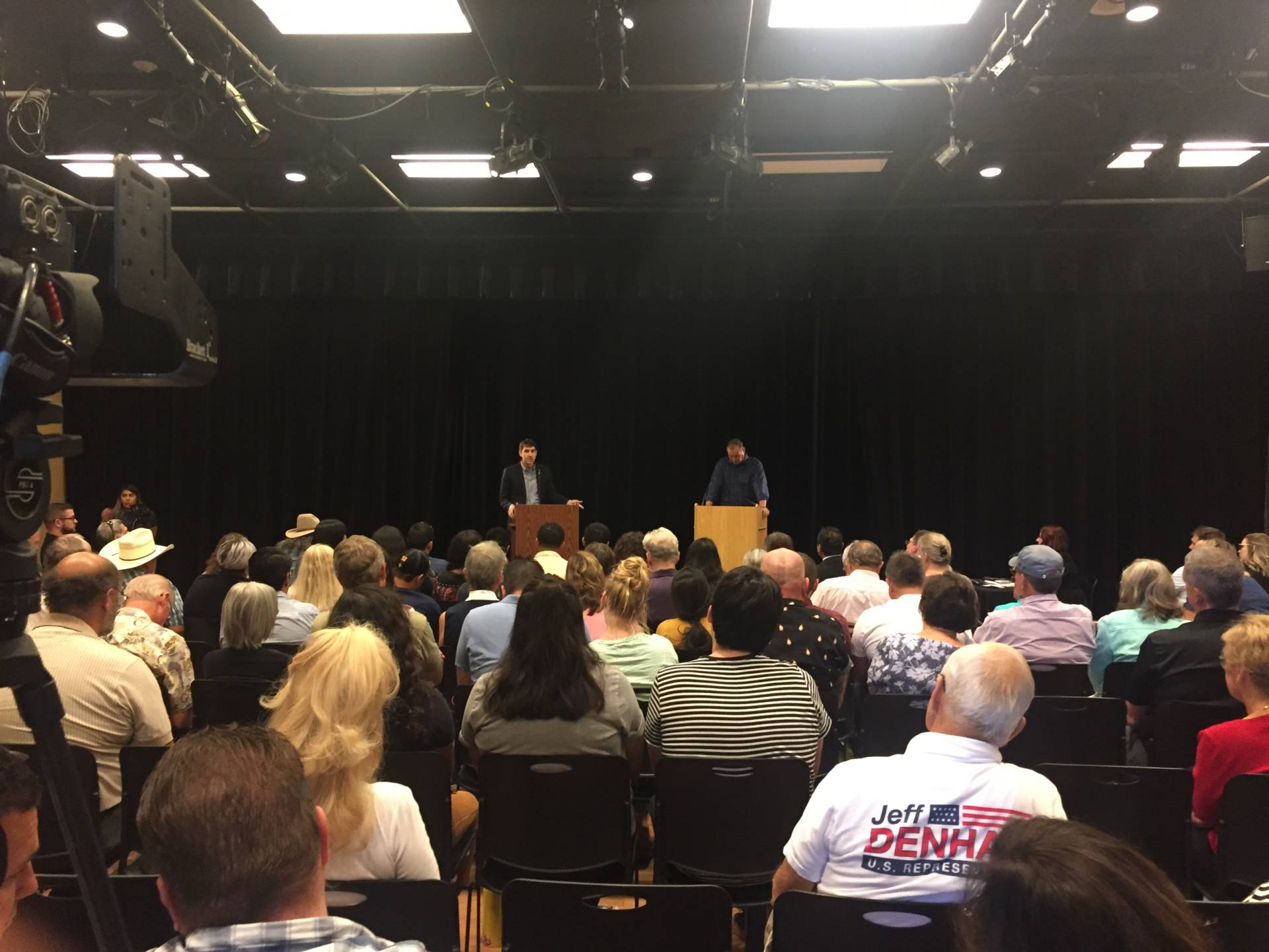 Republican Jeff Denham (R) and challenger Democrat Josh Harder (L) debate in Turlock.  Sonja Hutson/KQED