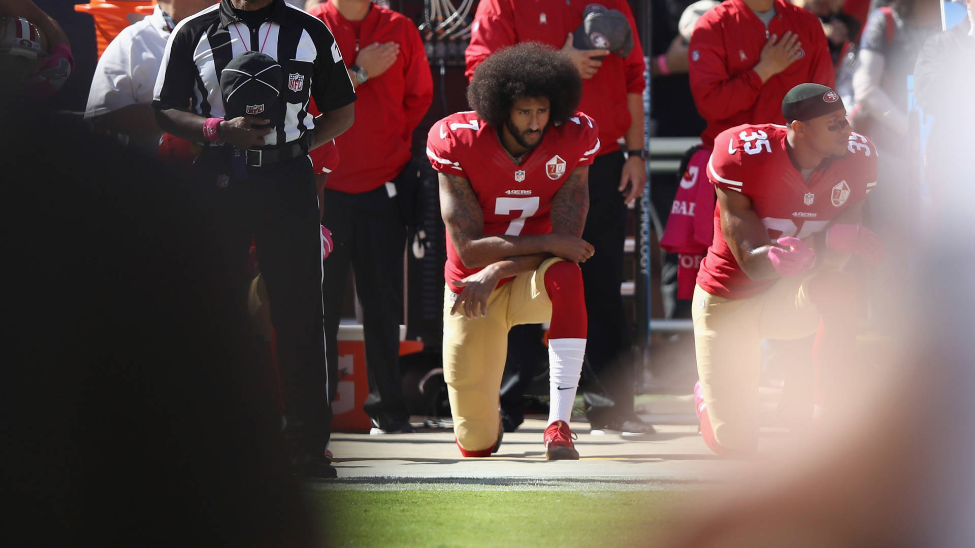 Colin Kaepernick kneels for the national anthem at Levi's Stadium in Santa Clara, Calif., on Oct. 23, 2016. Ezra Shaw/Getty Images