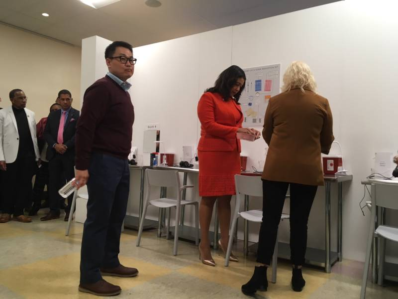 Mayor London Breed inspects a prototype safe injection site at Glide Memorial Church in San Francisco.