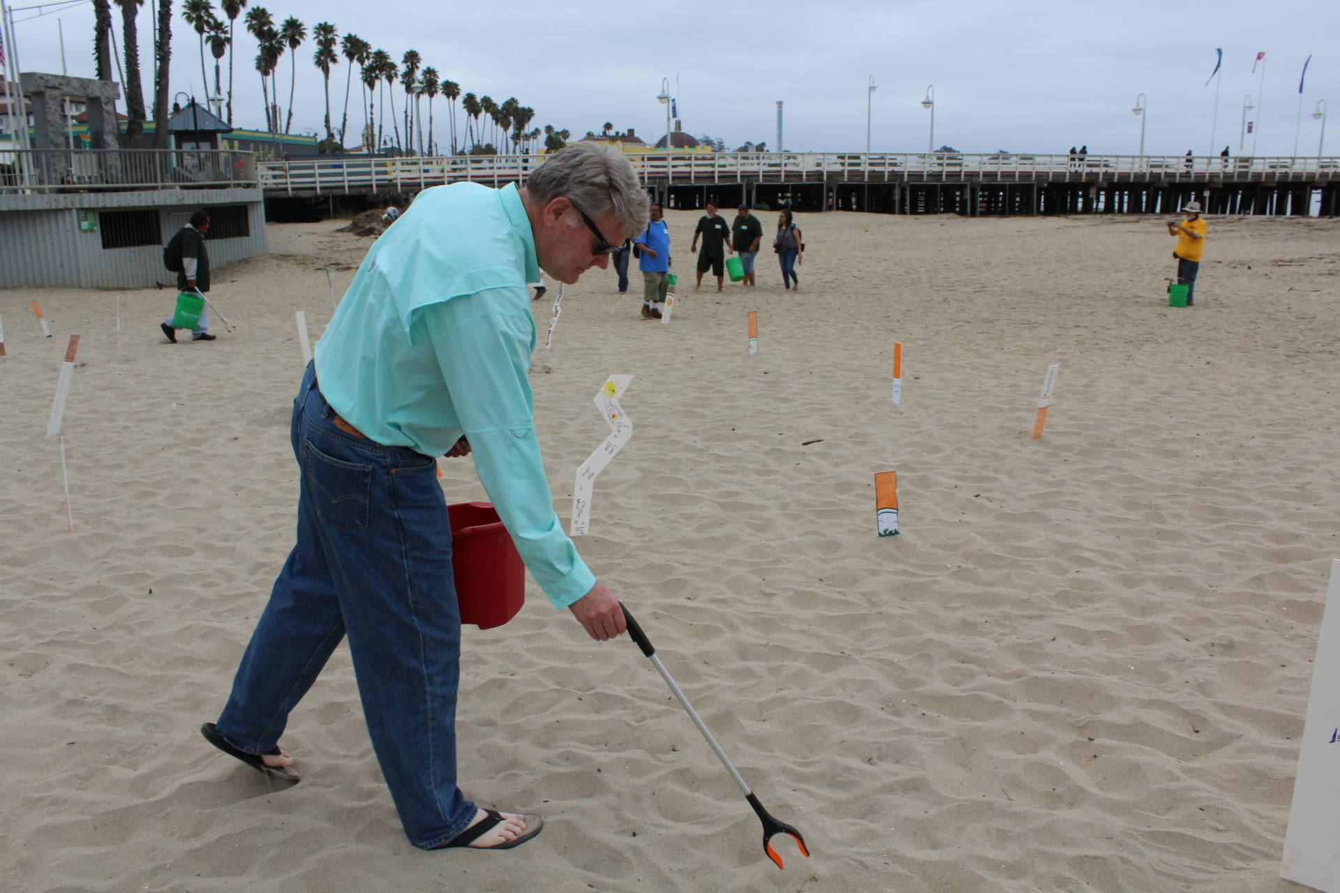 Assemblymember Mark Stone participated in the cleanup. He's been trying to make cigarettes sold in California filter-less so that what's left behind is less harmful. The bill has never gotten out of committee. Brandt Bates