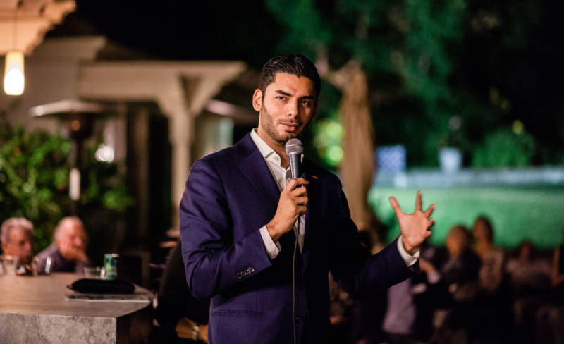 Ammar Campa-Najjar speaks at a recent campaign event.